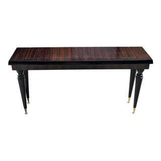 Unique French Art Deco Exotic Macassar Ebony Console Table, Circa 1940s . For Sale