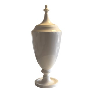 Contemporary White Lidded Urn For Sale