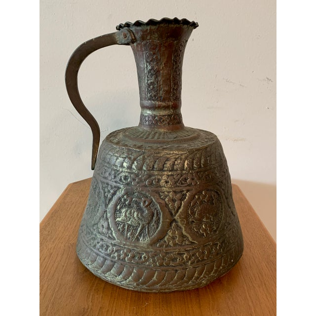 These two antique, hand hammered Turkish copper water jugs from the late 18th, early 19th century have a wonderful patina...