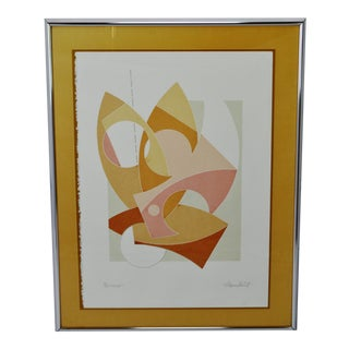 """Mid Century Framed Thomas Barrett Abstract Serigraph Titled """"Cutout"""" - Signed For Sale"""
