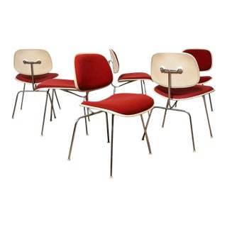 Upholstered Eames DCM Chairs - Set of 6 For Sale