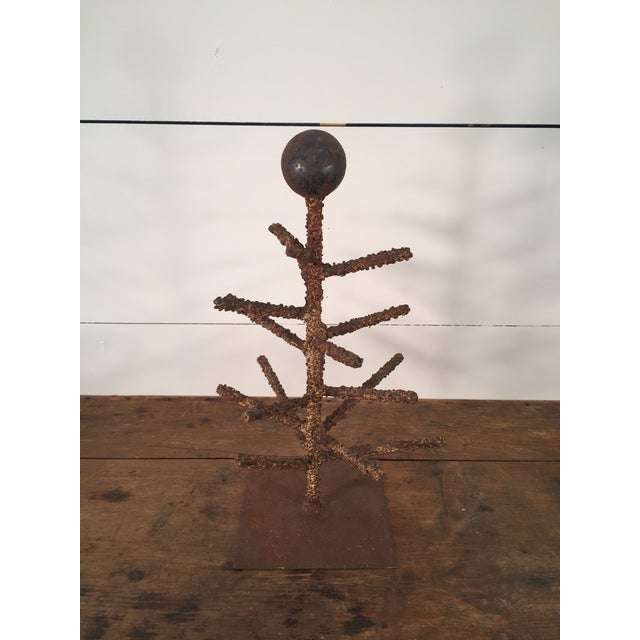 Quite amazing can describe this folky, crudely detailed, welded, iron tree sculpture. Found at a Texas antique show;...