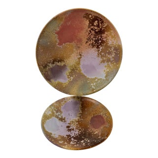Tony Evans Raku Pottery Chargers - a Pair For Sale