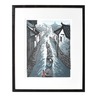 Vintage Chinese Lithograph Print of Boaters on a Canal For Sale