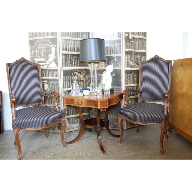 Louis XV French Pinstripe Carved Fauteuils - Pair - Image 8 of 9