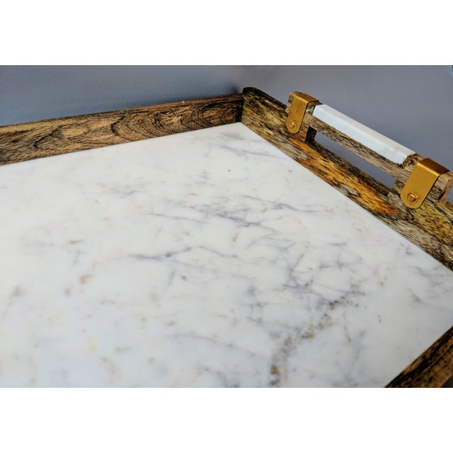 Gold Handcrafted Wood & Marble Bar Tray For Sale - Image 8 of 12