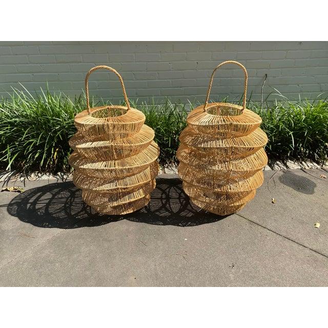 Palacek Style Rattan Hurricane Lanterns - A Pair For Sale In Atlanta - Image 6 of 6