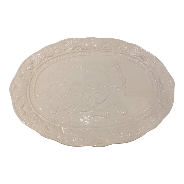 Vintage White Large Turkey Platter - Image 1 of 6