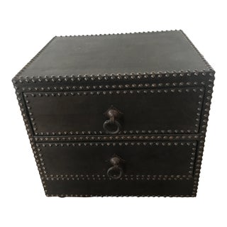Morocco Contemporary Nail Head & Leather Side Chest For Sale