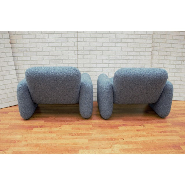 1970s Mid Century Modern Ray Wilkes for Herman Miller Blue Chiclet Lounge Chairs - a Pair For Sale - Image 5 of 9