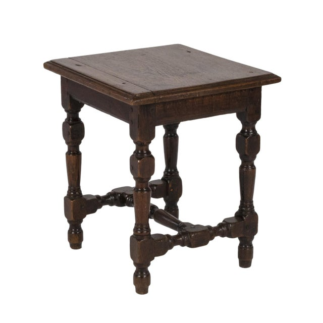 English Oak Square Stool With Turned Legs and H-Stretcher, Circa 1890 For Sale - Image 11 of 11