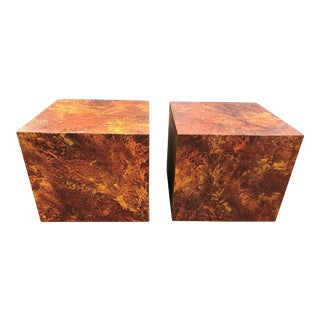 Pair of Mid-Century Modern Cube Tables in the Style of Paul Evans For Sale