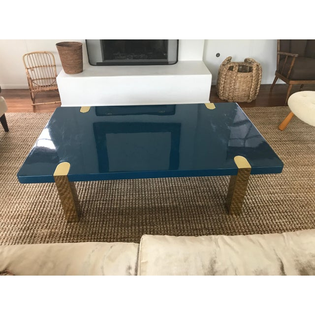 Chapman Coffee Table With Brass Legs Designed by Rita Konig for the Lacquer Company For Sale - Image 4 of 10