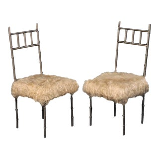 Nickel over Iron Bamboo Chairs with Goat Fur Seats - A Pair