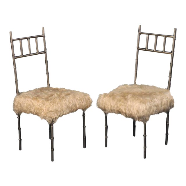 Nickel over Iron Bamboo Chairs with Goat Fur Seats - A Pair - Image 1 of 6