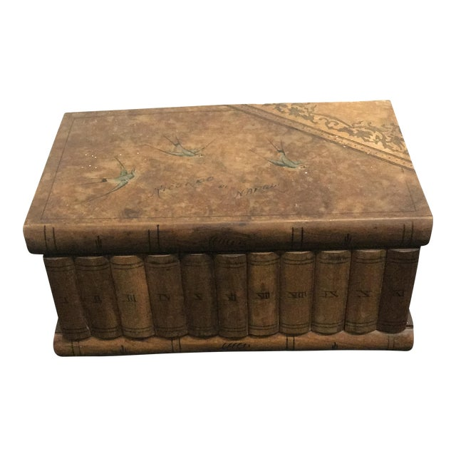 Wooden Faux Book Jewel Box For Sale