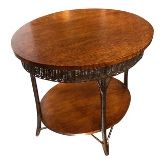 1920s Heywood Wakefield Oval Oak and Wicker Bamboo Side Table For Sale