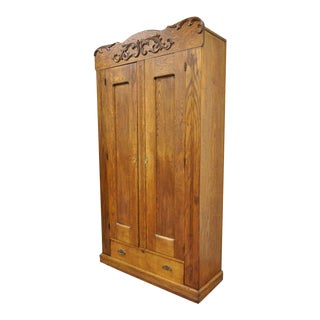 "82"" Antique American Victorian Golden Oak Wood Clothing Wardrobe Dresser Cabinet For Sale"
