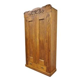"82"" Antique American Victorian Golden Oak Wood Clothing Wardrobe Dresser Cabinet"