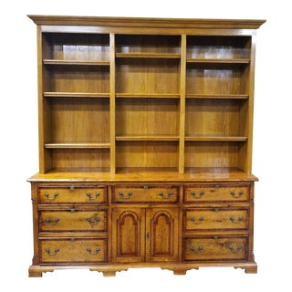 Vintage Custom Made Oak Library Bookcase Cabinet W Brass Hardware Hutch For Sale