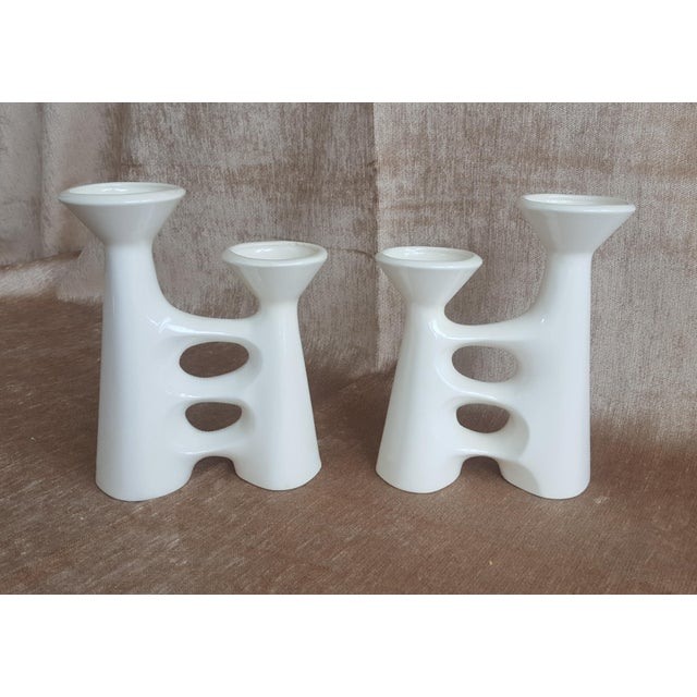 Vintage Modernist Ceramic Candle Holders - A Pair - Image 9 of 9