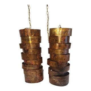 1960s Mid-Century Brutalist Copper Pendants - a Pair For Sale