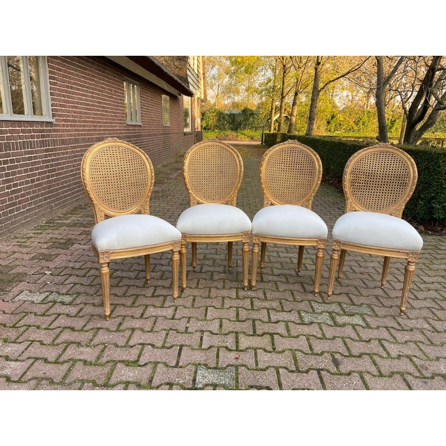 Metal New 4 Chairs in Antique Gold Finish For Sale - Image 7 of 8