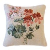 Image of Pink and Green Floral Wool Cotton Velvet Needlepoint Petit Point Pillow For Sale