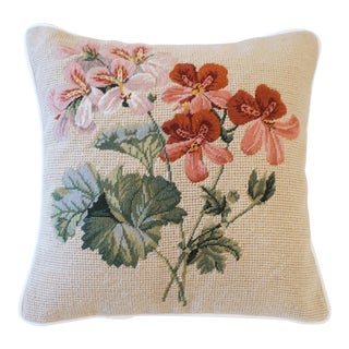 Pink and Green Floral Wool Cotton Velvet Needlepoint Petit Point Pillow For Sale