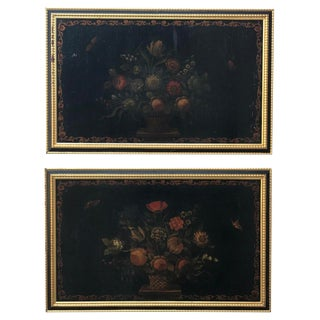 Late 18th Century Antique Chinese Export Black Lacquer & Polycrhome Paintings - A Pair For Sale