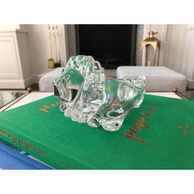 Vintage cut glass lion crystal dish ideal for nuts or candy. Made in Japan.