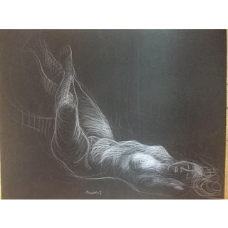 Vintage Nude Pastel on Black Paper For Sale