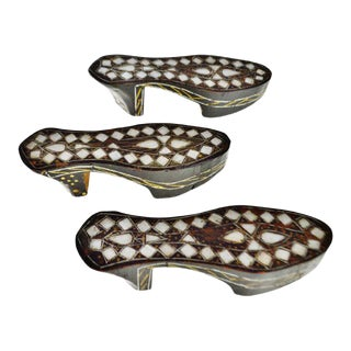 Antique Carved Wood Moroccan Mother of Pearl Inlaid Shoes - Set of 3 For Sale