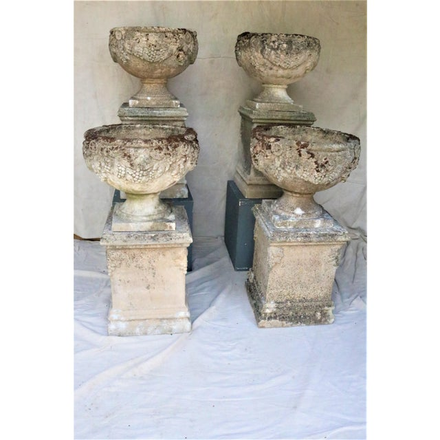 Concrete Early 20th Century English Cast Stone Urns on Bases W/ Grape Motif, Set of 4 For Sale - Image 7 of 7