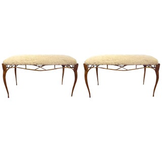 1960s Italian Gilt Metal Upholstered Benches - a Pair For Sale