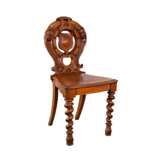 Antique Victorian Renaissance Style Carved Spiral Leg Hall Chair For Sale