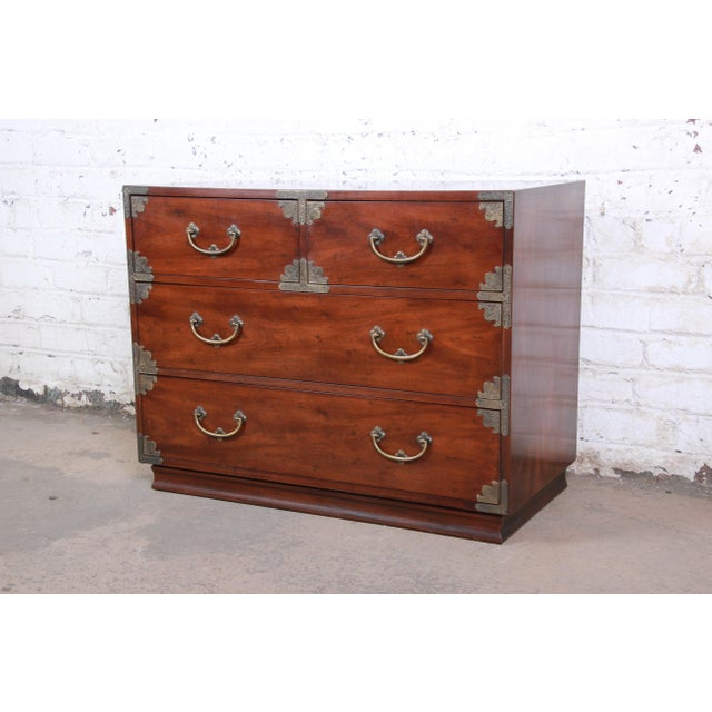Henredon Chinoiserie Campaign Style Walnut Four-Drawer Dresser Chest For Sale - Image 13 of 13