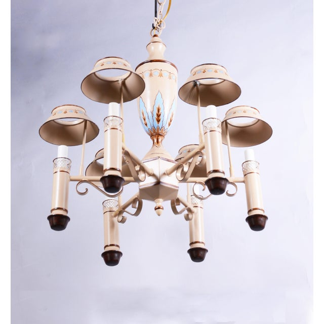 English Vintage Chandelier With Six Lamp Holders With Shades For Sale - Image 3 of 10