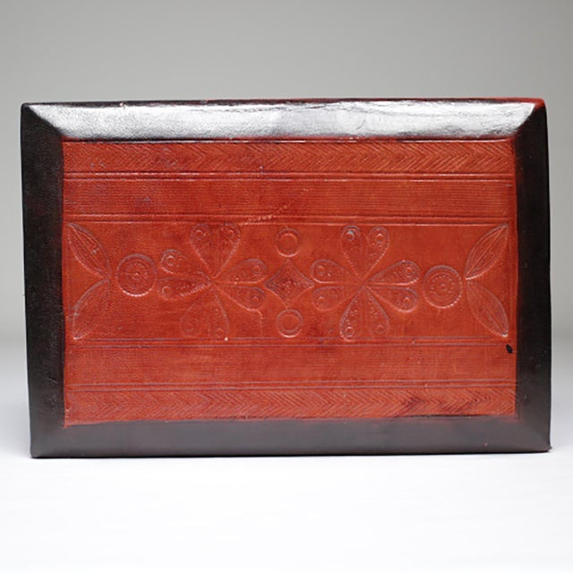 Vintage Embossed Leather Wrapped Wooden Box c. 1960-1980. - Image 4 of 4