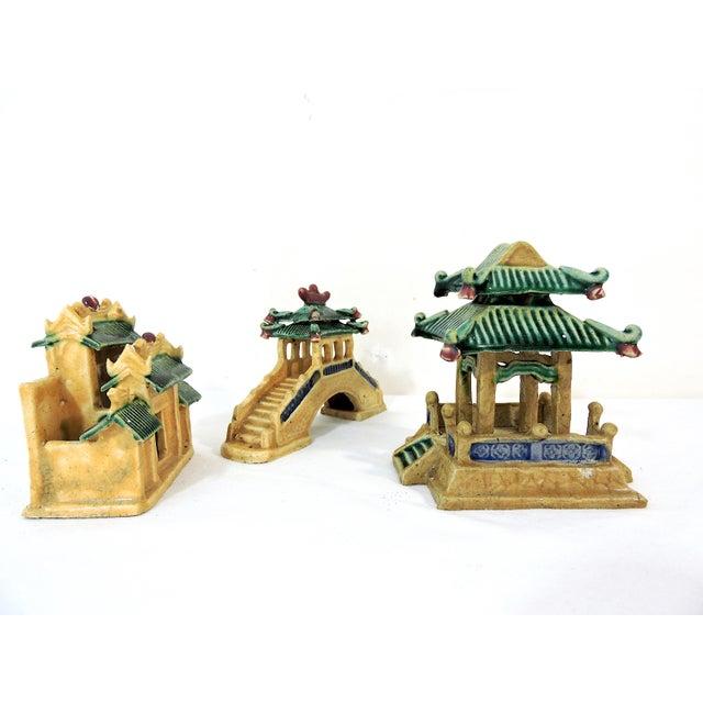 1980s Vintage Ceramic Chinese Planter / Garden Ornaments - Bridge, Temple and Pavilion - Set of 3 For Sale - Image 5 of 6