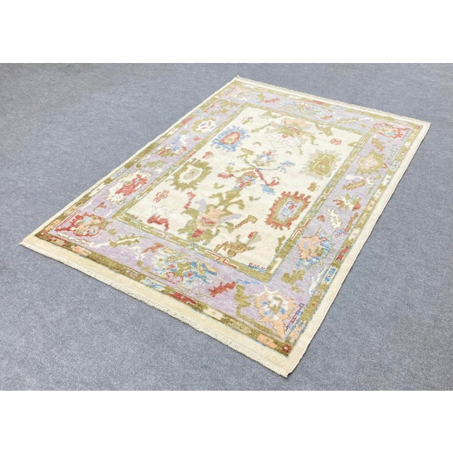 Textile Turkish Contemporary Floral Hand-Knotted Oushak Area Rug For Sale - Image 7 of 13