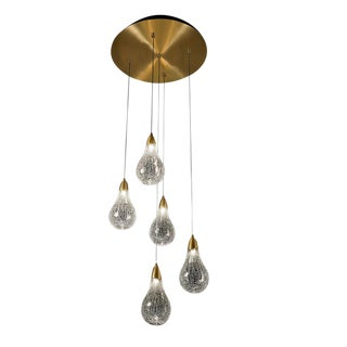 Sculptured Crackle Glass Pear Lighting For Sale