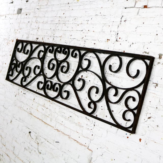 Antique Swirled Design Wrought Iron Railing Piece Trellis or Fence Section For Sale - Image 6 of 13