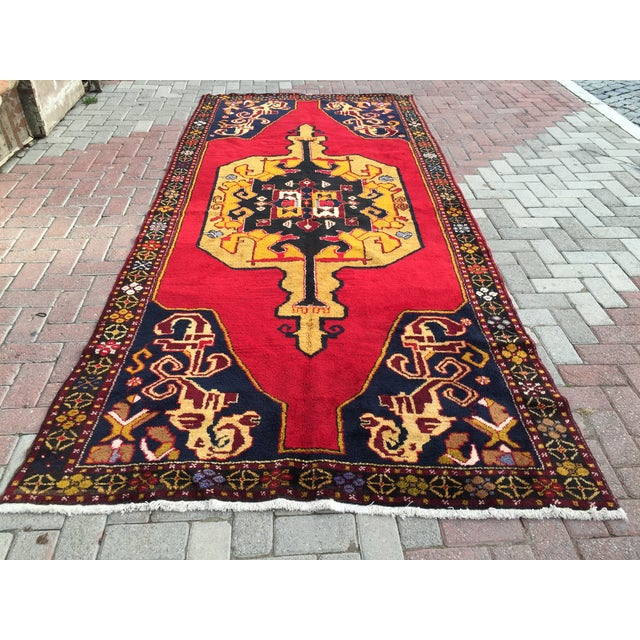 Vintage Anatolian Hand Knotted Rug - 5′1″ × 11′4″ For Sale - Image 4 of 7