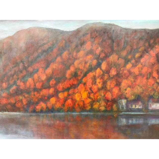 Vintage Fall Landscape Painting Oil on Canvas For Sale In New York - Image 6 of 7