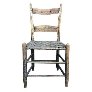 19th Century American Rustic Oak Side Chair For Sale