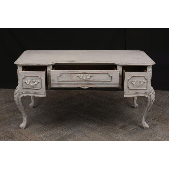 White Traditional Louis XV-Style Distressed Finish Desk For Sale - Image 8 of 13