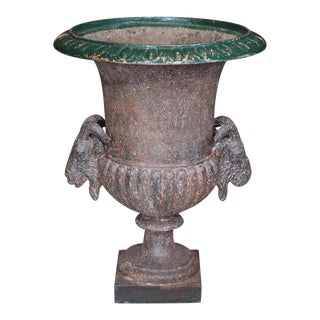 19th Century French Cast Iron Urn For Sale