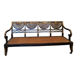 Mid 19th Century Ebonized English Regency Settee With Cane on Casters For Sale
