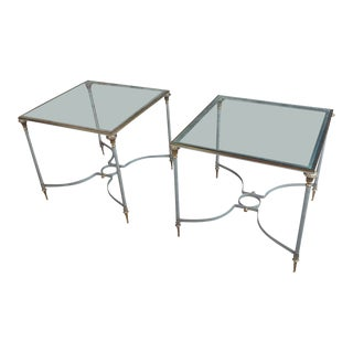 Vintage Brass French Side Tables With Square Glass Top - A Pair For Sale